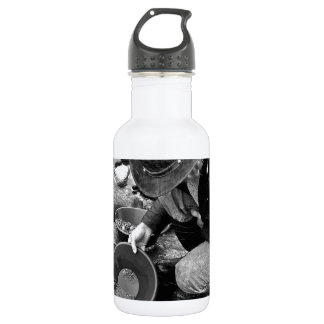 Panning for Gold Black and White Stainless Steel Water Bottle