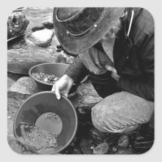 Panning for Gold Black and White Stickers