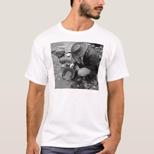 Panning for Gold Black and White T-Shirt