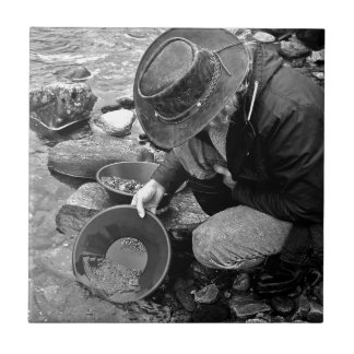 Panning for Gold Black and White Ceramic Tile