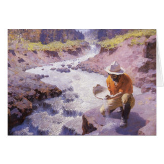 Panning Gold, Wyoming by Leigh, Vintage Cowboy Greeting Card