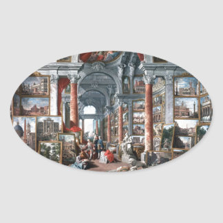 Pannini - Gallery of Views of Modern Rome Oval Sticker