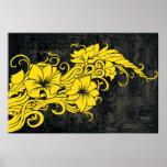 Panno floral amarillo moderno de la decoración poster