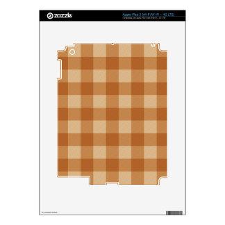 Paño a cuadros de la tela escocesa marrón clásica pegatina skin para iPad 3