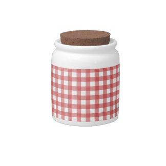 Paño a cuadros rojo jarra para caramelo