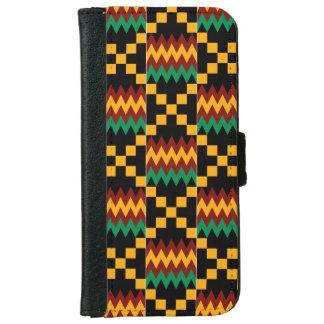Paño amarillo, verde, rojo, negro de Kente Funda Cartera Para iPhone 6