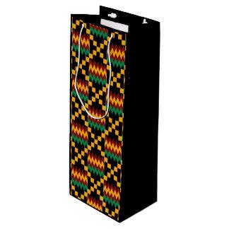 Paño amarillo, verde, rojo, negro de Kwanzaa Kente Bolsa De Regalo Para Vino