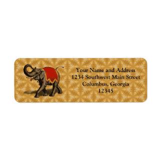 Paño del elefante indio w Red Etiquetas De Remite