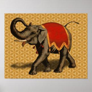 Paño del elefante indio w Red Poster