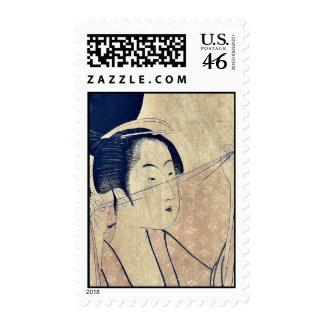 Paño escarpado por Kitagawa, Utamaro Ukiyoe Sellos