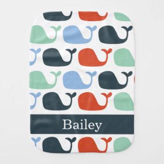 Paño náutico del Burp de la ballena del bebé Paños Para Bebé