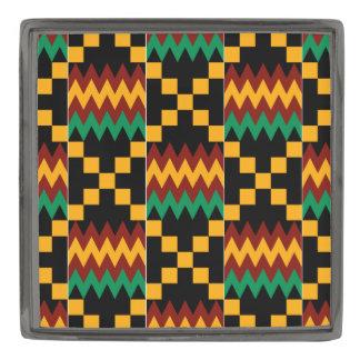 Paño negro, verde, rojo, amarillo de Kente, bronce Insignia Metalizada