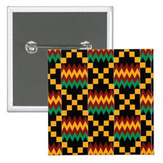 Paño negro, verde, rojo, y amarillo de Kente Pin Cuadrado
