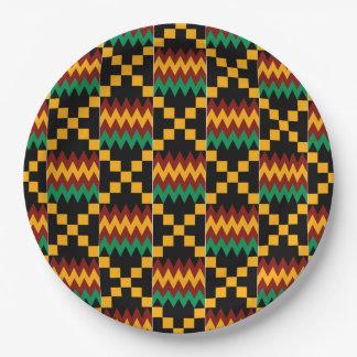 Paño negro, verde, rojo, y amarillo de Kente Plato De Papel De 9 Pulgadas