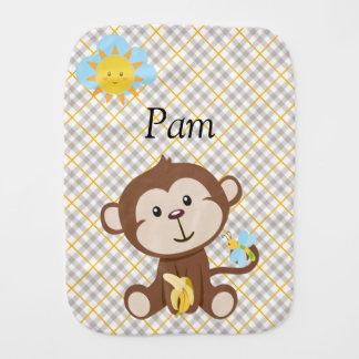 Paño personalizado del Burp del mono Paños Para Bebé