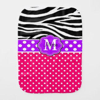 Paño personalizado puntos púrpuras rosados del paños de bebé