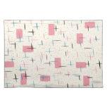 Paño rosado atómico retro Placemat del modelo Manteles