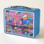 """Panoply Fireworks Lunchbox<br><div class=""""desc"""">A wonderful retro lunchbox featuring the 2018 Panoply poster art-- perfect to take out trick-or-treating,  carry your lunch into school or work,  or just collect for fun!</div>"""