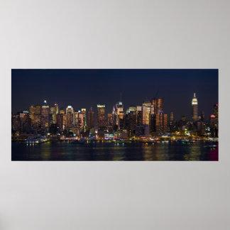 Panorama 08 del horizonte de New York City Póster