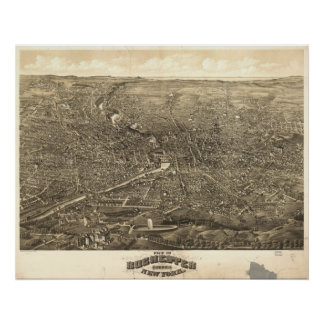 Panorama 1880 de Rochester NY Poster