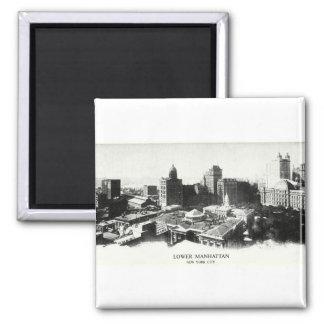 Panorama 1898 de Nueva York Imán Cuadrado