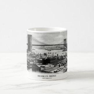 Panorama 1900 del puente de Brooklyn Tazas De Café