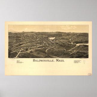 Panorama antiguo de Baldwinville Massachusetts Póster