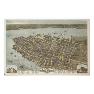 Panorama antiguo de Charleston Carolina del Sur Poster