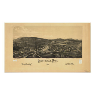 Panorama antiguo de Graniteville Massachusetts Póster