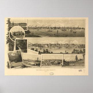 Panorama antiguo de la Columbia Británica 1884 de Póster