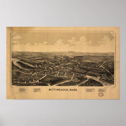 Panorama antiguo de Mittineague Massachusetts 1889 Póster