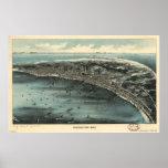 Panorama antiguo de Provincetown Massachusetts Póster