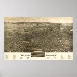 Panorama antiguo de Saratoga Springs Nueva York Póster
