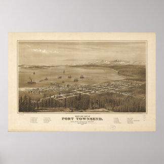 Panorama antiguo de Townsend Washington 1878 del p Impresiones