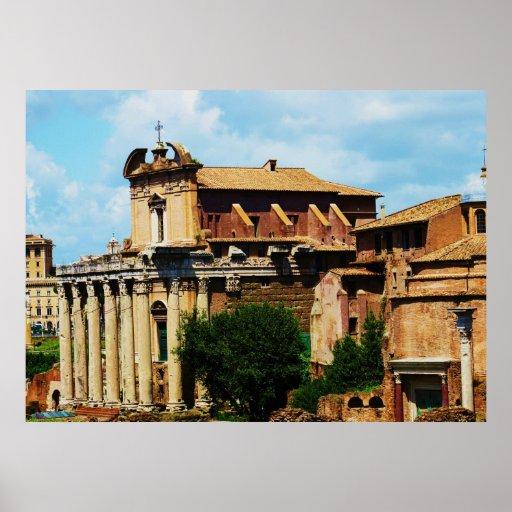 Panorama arqueológico de Roma Póster