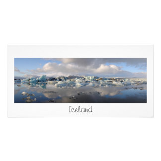 Panorama card with iceberg lake and text: Iceland