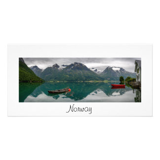 Panorama card with lake and text: Norway