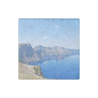 Panorama Crater Lake Stone Magnet