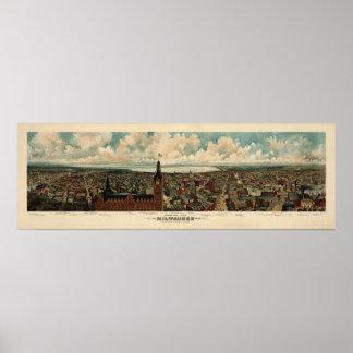 Panorama de Birdseye de 1898) reimpresiones de Mil Poster
