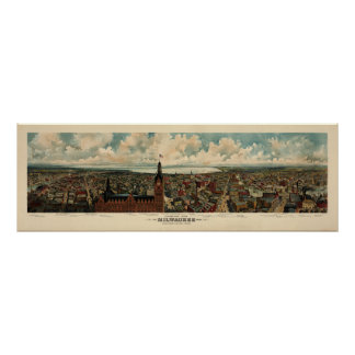 Panorama de Birdseye de 1898) reimpresiones de Póster