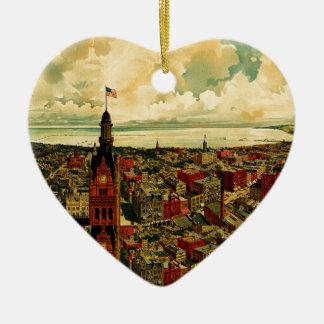 Panorama de Birdseye de Milwaukee (1898) Adorno Navideño De Cerámica En Forma De Corazón