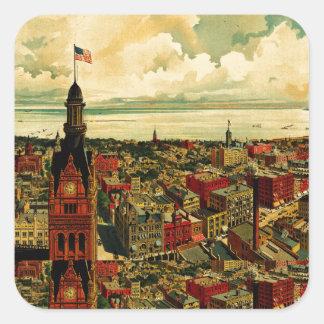 Panorama de Birdseye de Milwaukee (1898) Pegatina Cuadrada