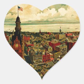 Panorama de Birdseye de Milwaukee (1898) Pegatina En Forma De Corazón