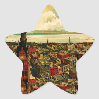 Panorama de Birdseye de Milwaukee (1898) Pegatina En Forma De Estrella