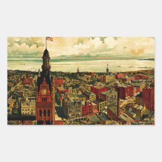 Panorama de Birdseye de Milwaukee (1898) Pegatina Rectangular