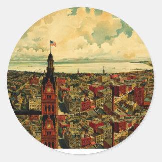 Panorama de Birdseye de Milwaukee (1898) Pegatina Redonda