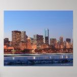 Panorama de Chicago, Illinois a través del lago Póster