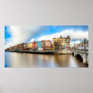 Panorama de Dublín Irlanda Liffey - 10x20 archival Póster