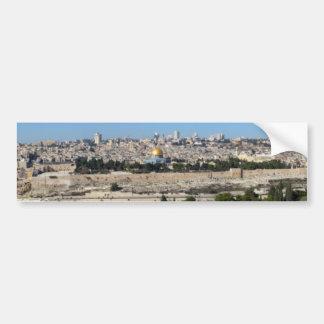 Panorama de Jerusalén del monte de los Olivos Etiqueta De Parachoque