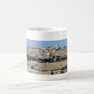 Panorama de Jerusalén del monte de los Olivos Taza